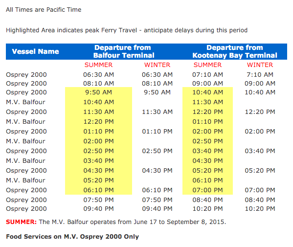 Kootenay Lake Ferry Schedule-2016